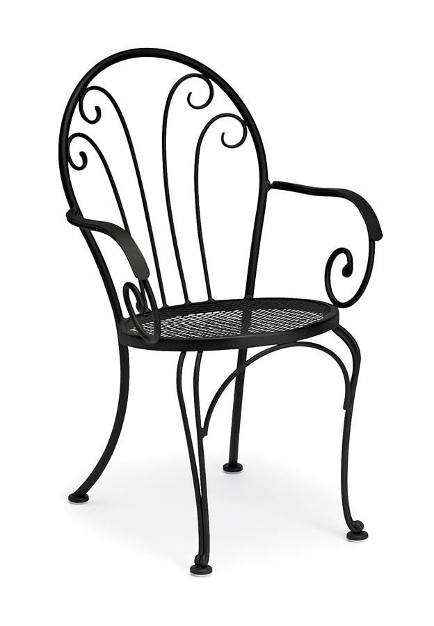 Bistro Chair In Wrought Iron W Decorative Scrollwork Laurel