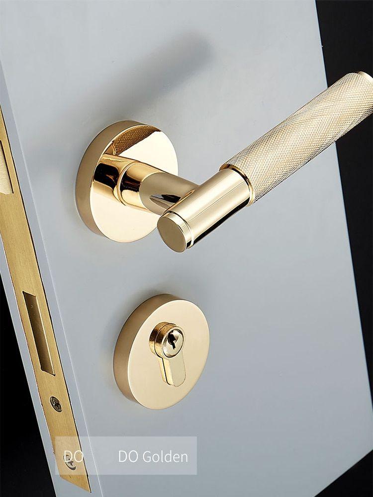 1set Knurled Textured Door Handle With Lock Brass Mechanical Durable Handleset For 35 50mm Doors In Door H Door Handle With Lock Gold Door Handles Door Handles
