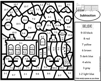 Polar Express Color By Number Addition Subtraction By Primary Piglets Math Facts Christmas Math Worksheets Subtraction