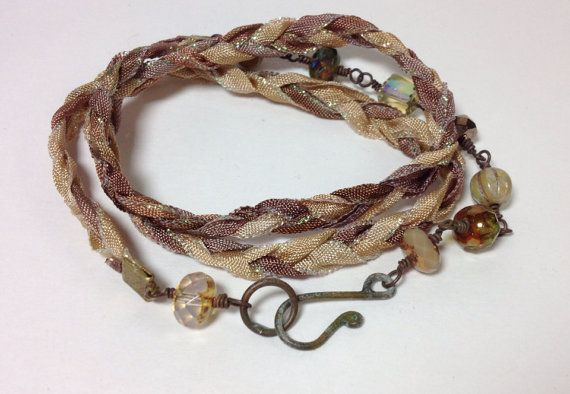 Ribbon and Czech glass necklace three wrap by GingerandNoise, $32.00