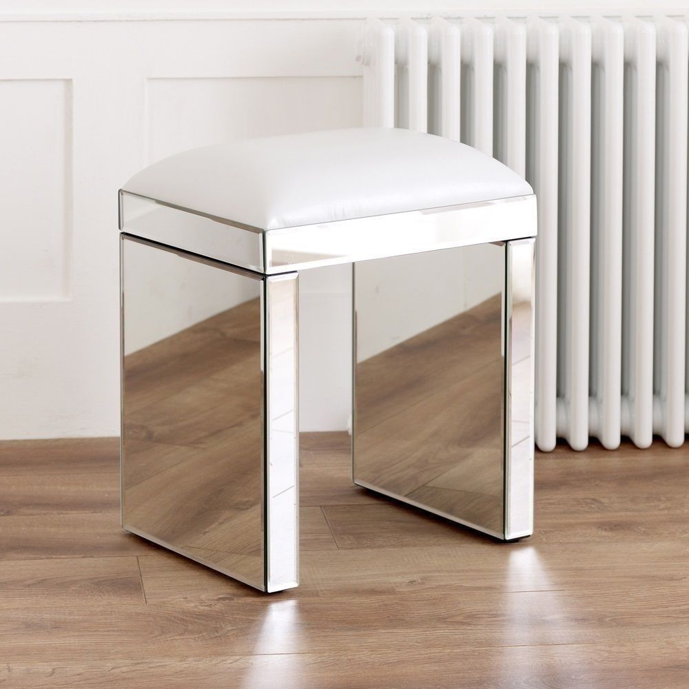 Mirrored white bed room stool glass furniture contemporary leather