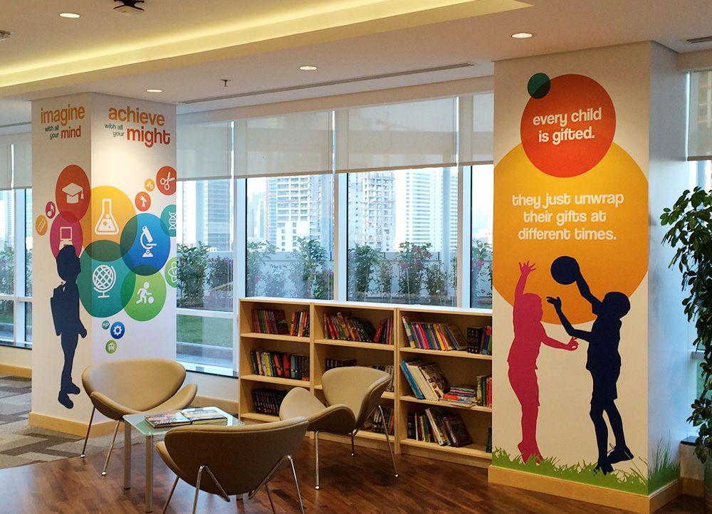Pillar Graphics For Workplace Graphic Design Designing Corporate Wall Graphics Google Search Office Wall Graphics Wall Graphics Column Design