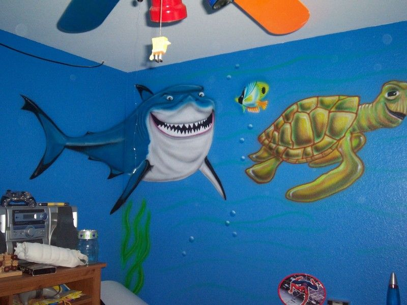 Under sea wall mural for kids room smile shark - Murals For Kids Rooms Decorating Ideas Pinterest Kids Rooms