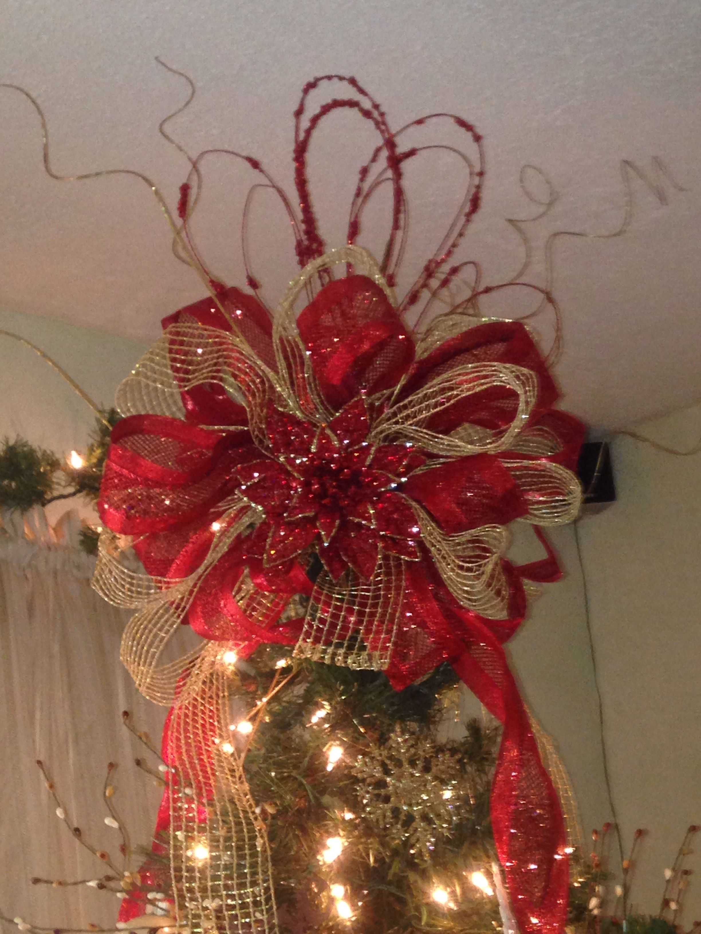 Ribbon tree topper Christmas tree toppers, Christmas