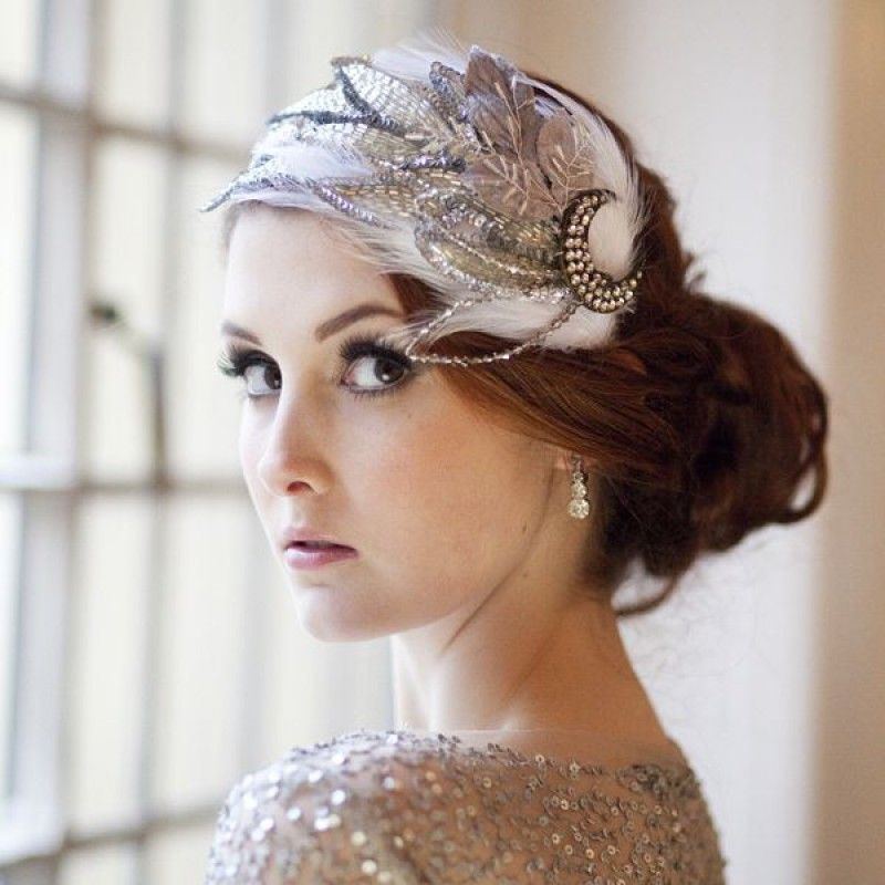 Vintage Wedding Headpieces: Jazz Age Sparkle And Feather Vintage Bridal Cap From