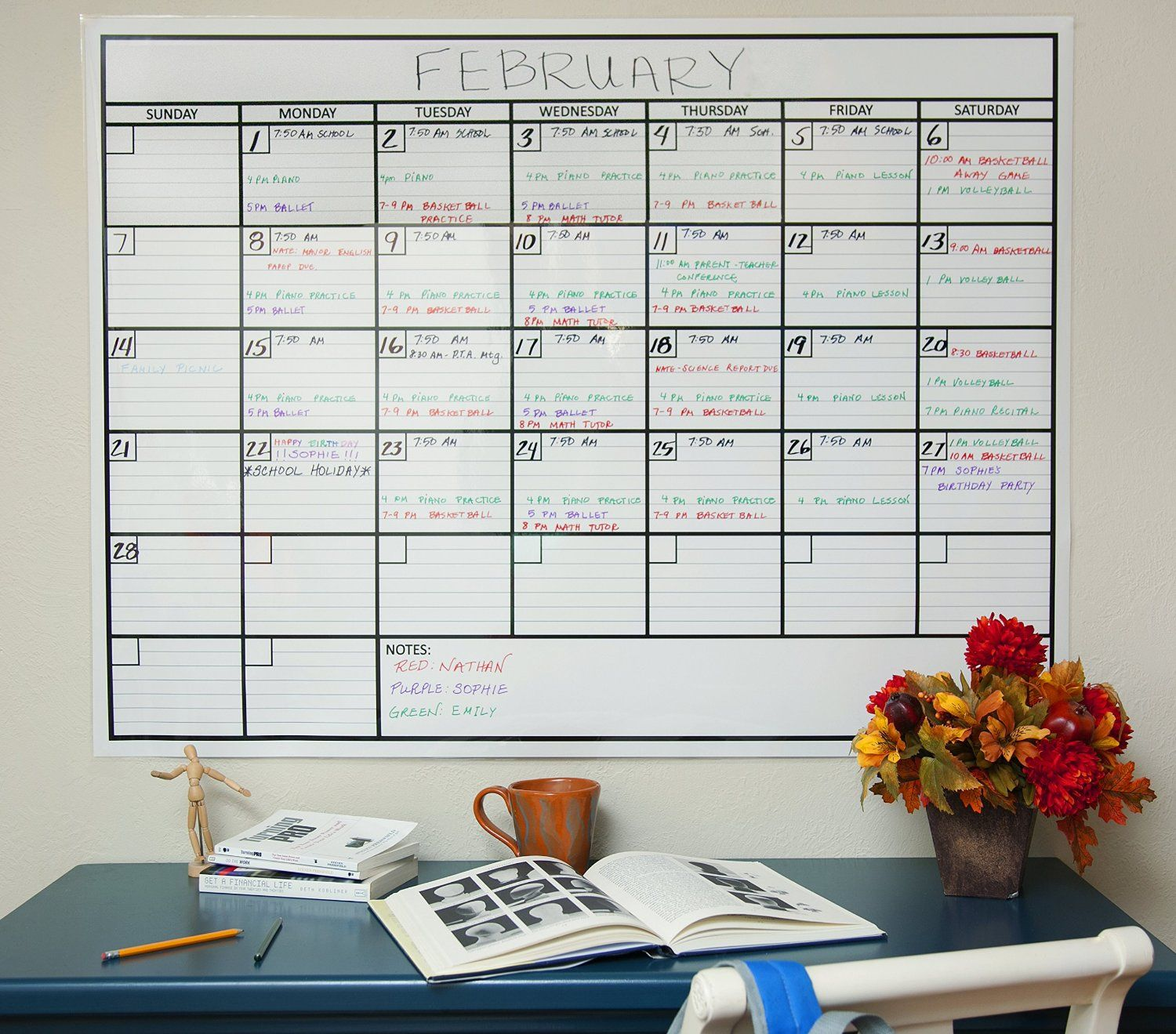 Amazon Com Laminated Jumbo Wall Calendar 36 X 48 Dry Erase Erasable One Month Planner For Offic Dry Erase Wall Calendar Large Wall Calendar Wall Calendar