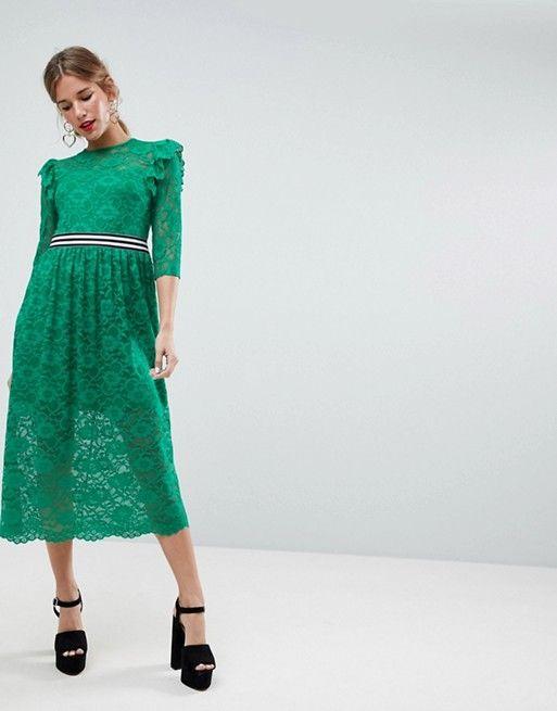 ASOS - Vestito midi da giorno in pizzo con righine a contrasto stile  sportivo | SHOPPING SELECTION | Pinterest | Fashion online, Lace dress and  Fashion