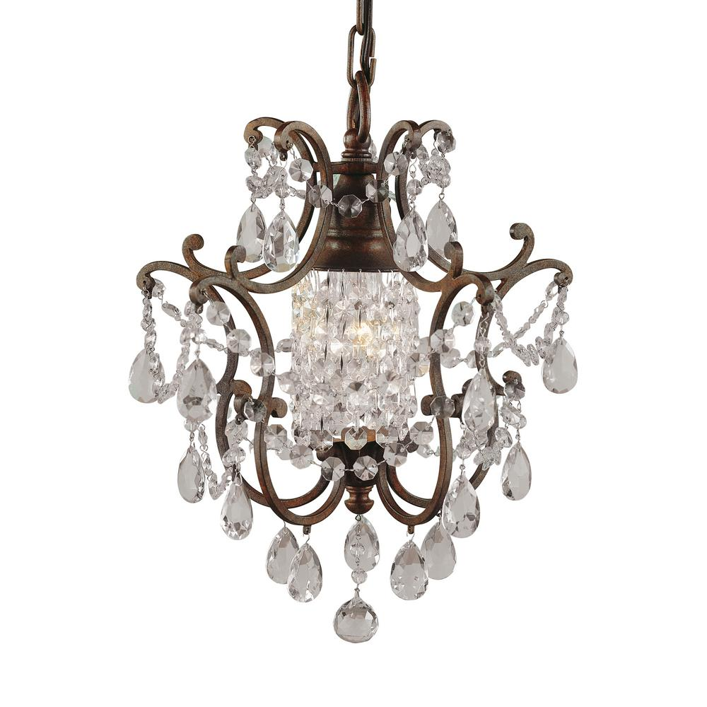 Feiss Maison De Ville 11 In W 1 Light British Bronze French Country Mini Chandelier With Crystal And Bead Accents F1879 1brb In 2020 Mini Chandelier Bronze Bronze Chandelier