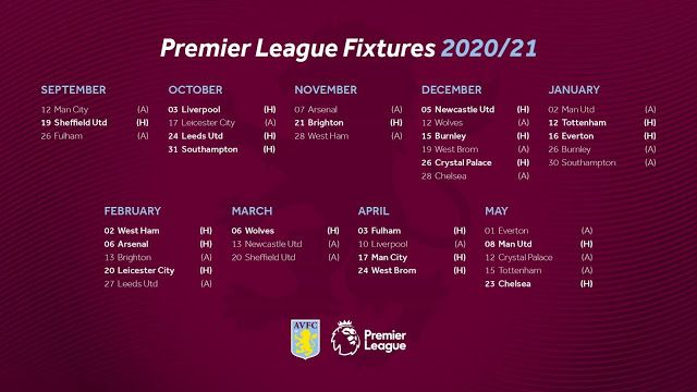 Max Sports Aston Villa Premier League Fixtures 2020 21 In 2020 Premier League Fixtures Aston Villa Premier League