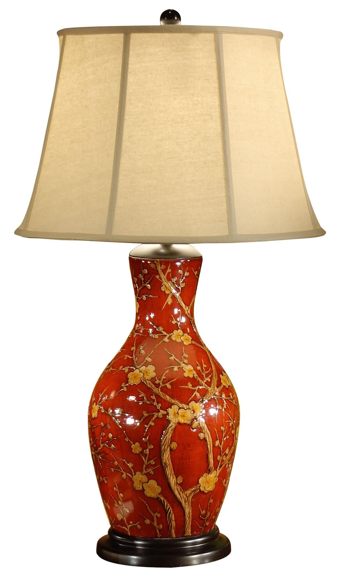 Wildwood Hand Painted Porcelain Red Blossoms Table Lamp