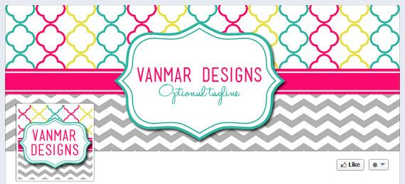 Personalized Business Facebook Timeline Cover and Matching Profile Picture - Quatrefoil and Chevron Pink, Blue, Yellow, Gray by VanMarDesigns, $5.00