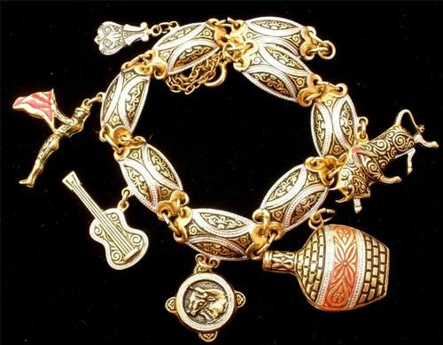 Damascene Enamel Charm Bracelet Vintage Toledo Spain Gold Plated