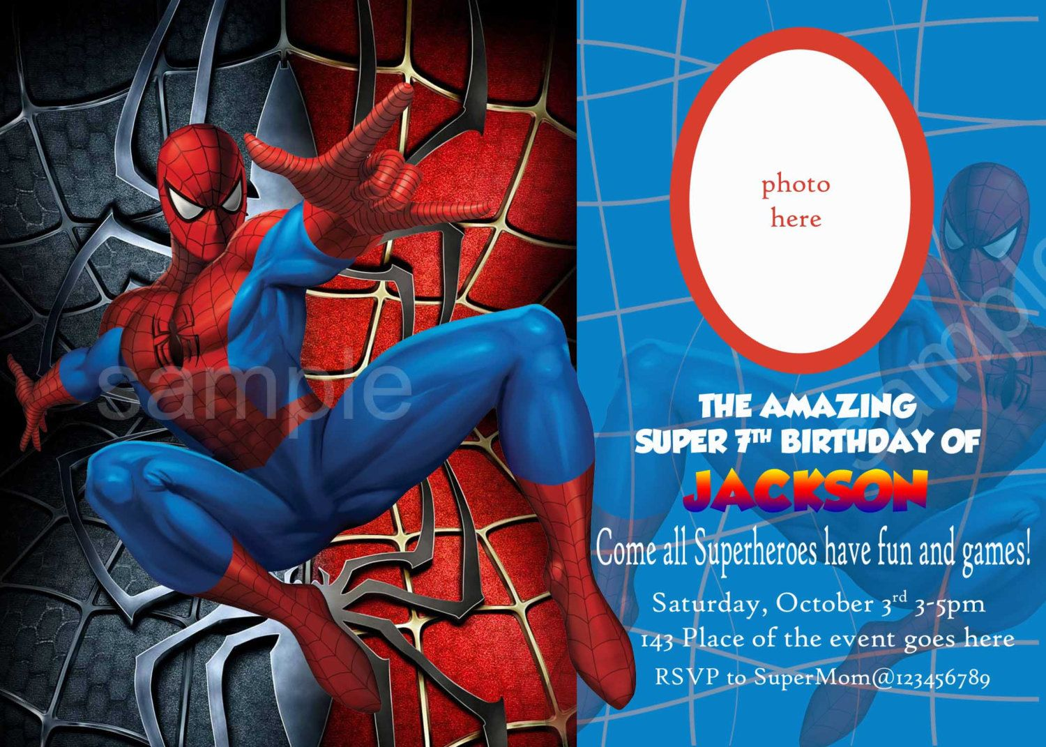 Blank Spiderman Invitations InviteTown