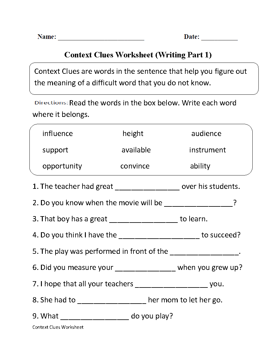 worksheet 1st Grade Vocabulary Worksheets context clues worksheet writing part 1 intermediate ela intermediate