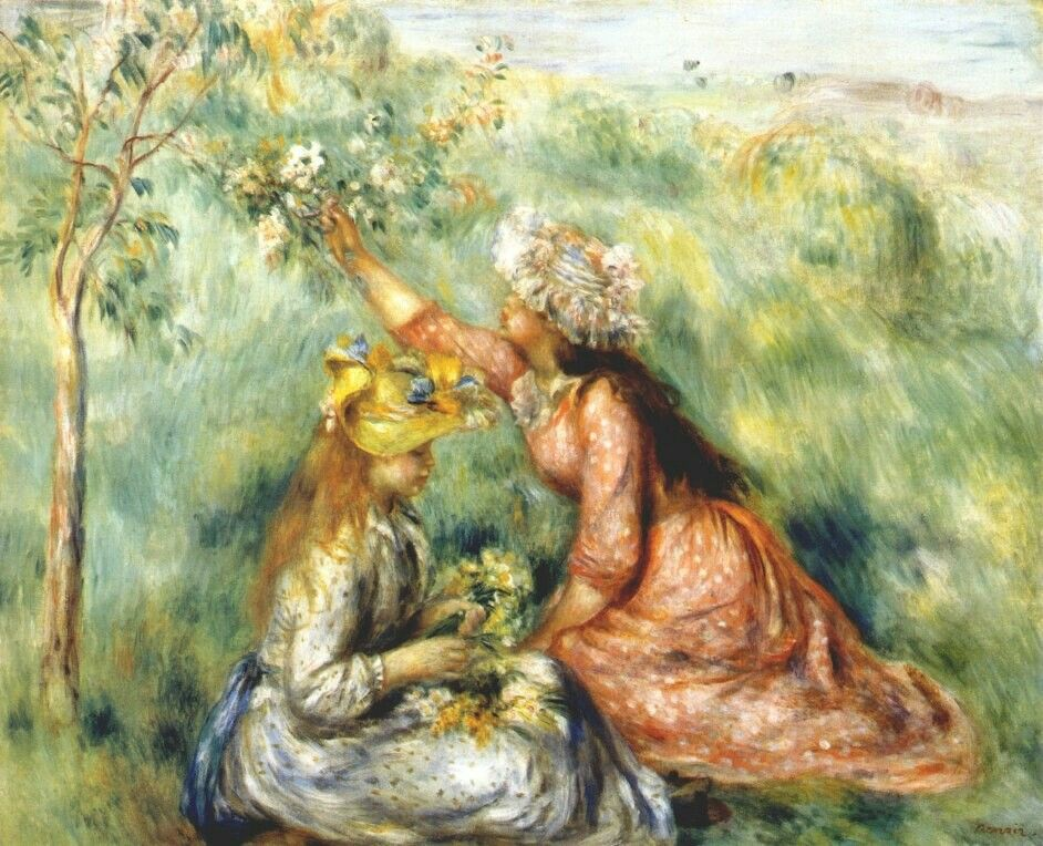 Girls picking flowers in a meadowbyPierre-Auguste Renoir   Size: 81x65.1 cm Medium: oil on canvas