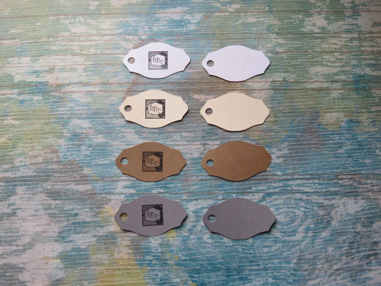 Étiquettes personnalisées, Étiquettes à bijoux, étiquettes à vêtements «Mini mini! Modèle D» (50) 4 couleurs disponibles de la boutique Lamainalacarte sur Etsy