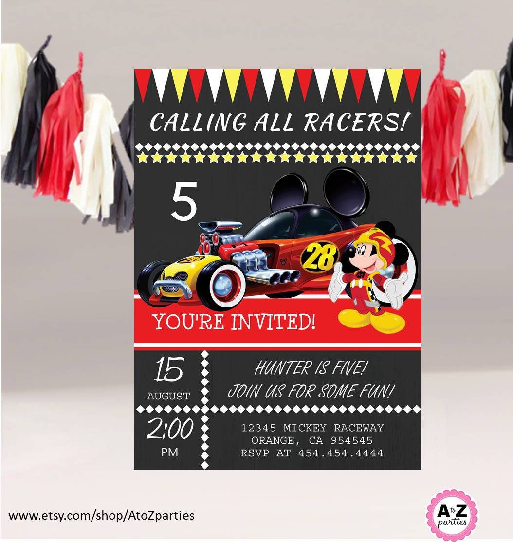 Mickey Mouse Roadster Racers Racers Editable Party Invitaiton