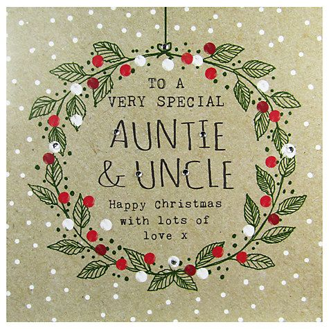 Buy Hammond Gower Auntie And Uncle Words Christmas Card Online at