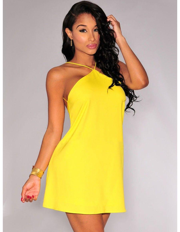 Vestidos de noche amarillos cortos