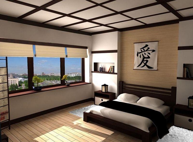 simple, clean lines define teh asian style bedroom voor meer