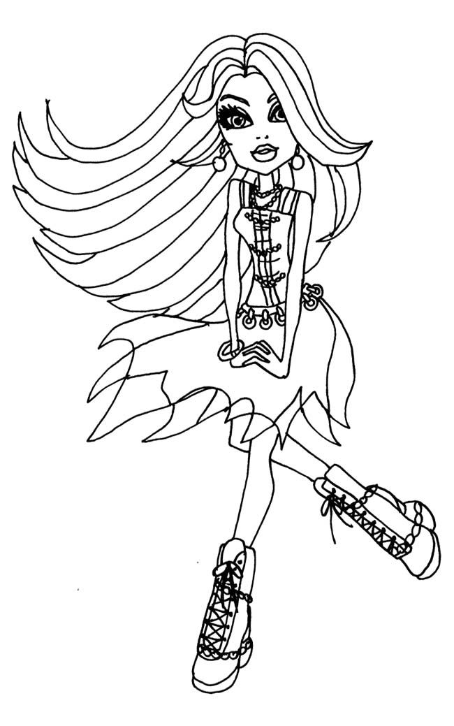 Spectra Vondergeist Being Relax Coloring Page Monster High