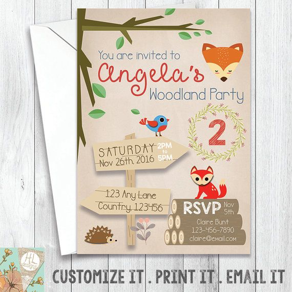 Woodland Birthday Party Invitation Enchanted by HoneyLaceDesigns