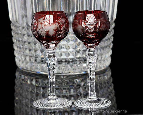Ruby Red Crystal Liquor Glasses, Cordial Glasses, Grapes Decor