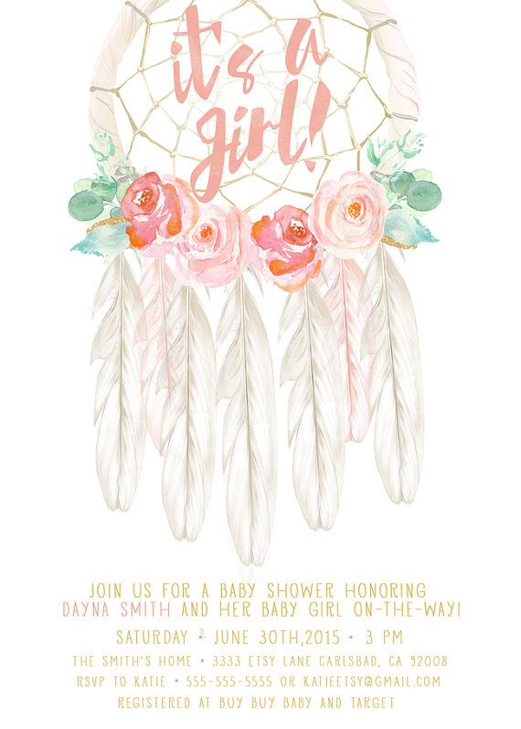boho baby shower invitation girl dream catcher by kreynadesigns