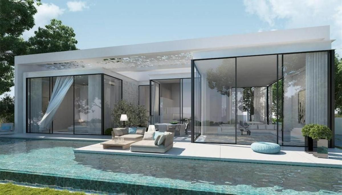 awesome small luxury house plans with elegant pool om courtyard also wide glass window also sofa
