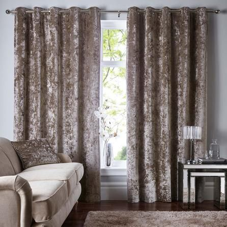 Dunelm Luxurious Champagne Crushed Velour Eyelet Curtains Champagne Living Room Curtains Curtains Living Room
