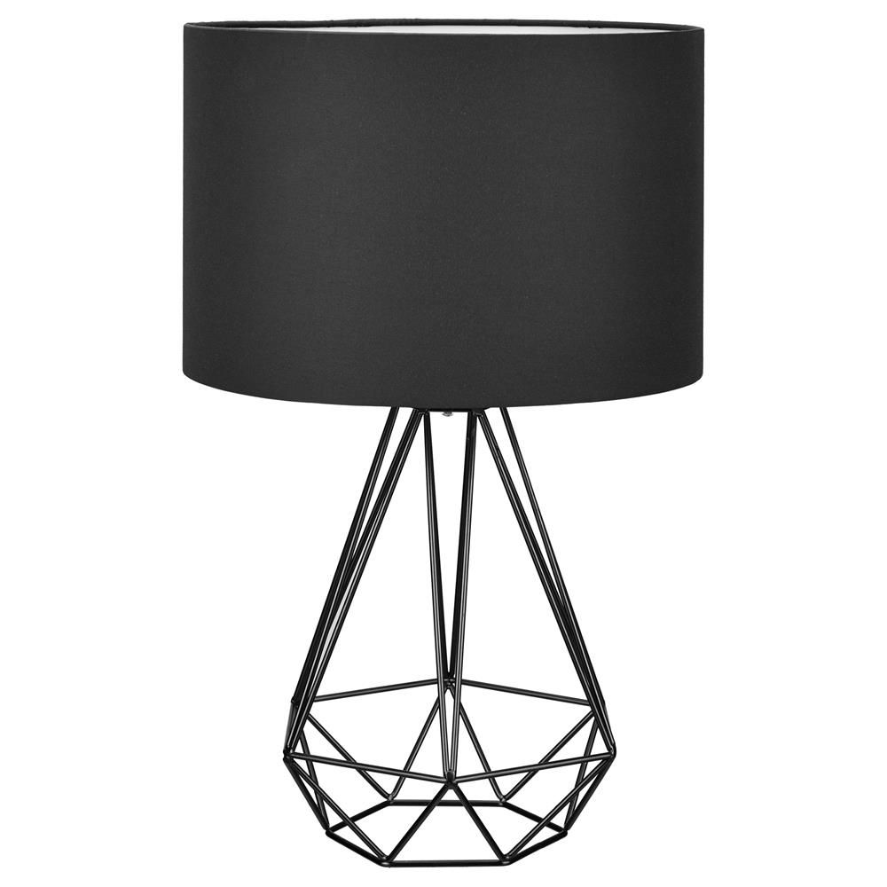 Lampe de table en tige de fer avec base en forme de diamantlampes lampe de table en tige de fer avec base en forme de diamantlampes de black white bedroomslamp greentooth Images
