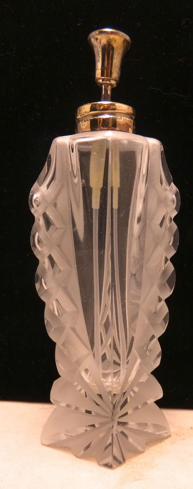 Antique ART DEO Clear Crystal Perfume Bottle With Frosted Glass AND Silver TOP | eBay