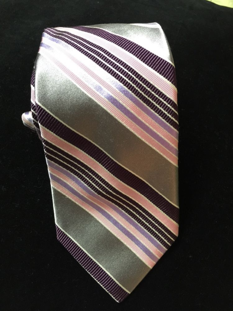 IKE BEHAR NEW YORK SILK MEN'S STRIPE TIE silver, purple& pink stripes  #IkeBehar #NeckTie