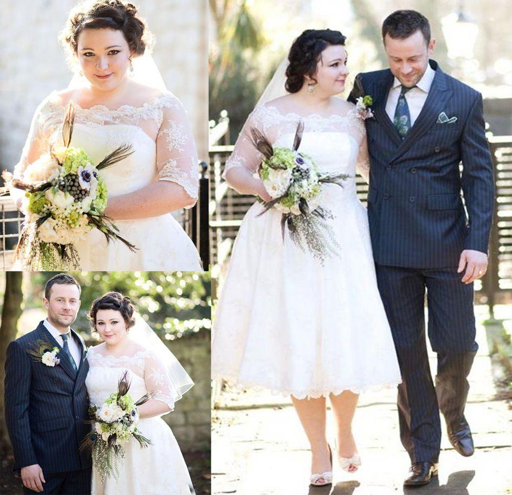 Tea length plus size wedding dresses  Plus Size Tea Length Wedding Dress Half Sleeve Lace Appliques Ball