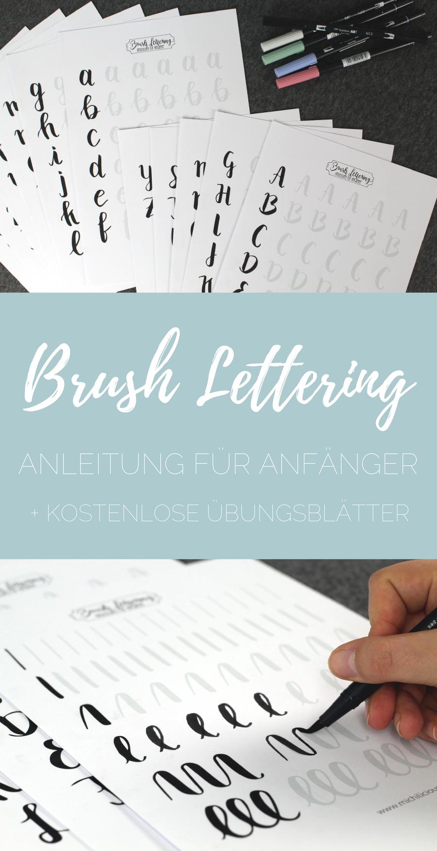 Photo of {Handlettering} Brush Lettering – Anleitung für Anfänger + kostenlose Übungsblätter! – leicht zu bürsten – einfache Handschrift für alle!