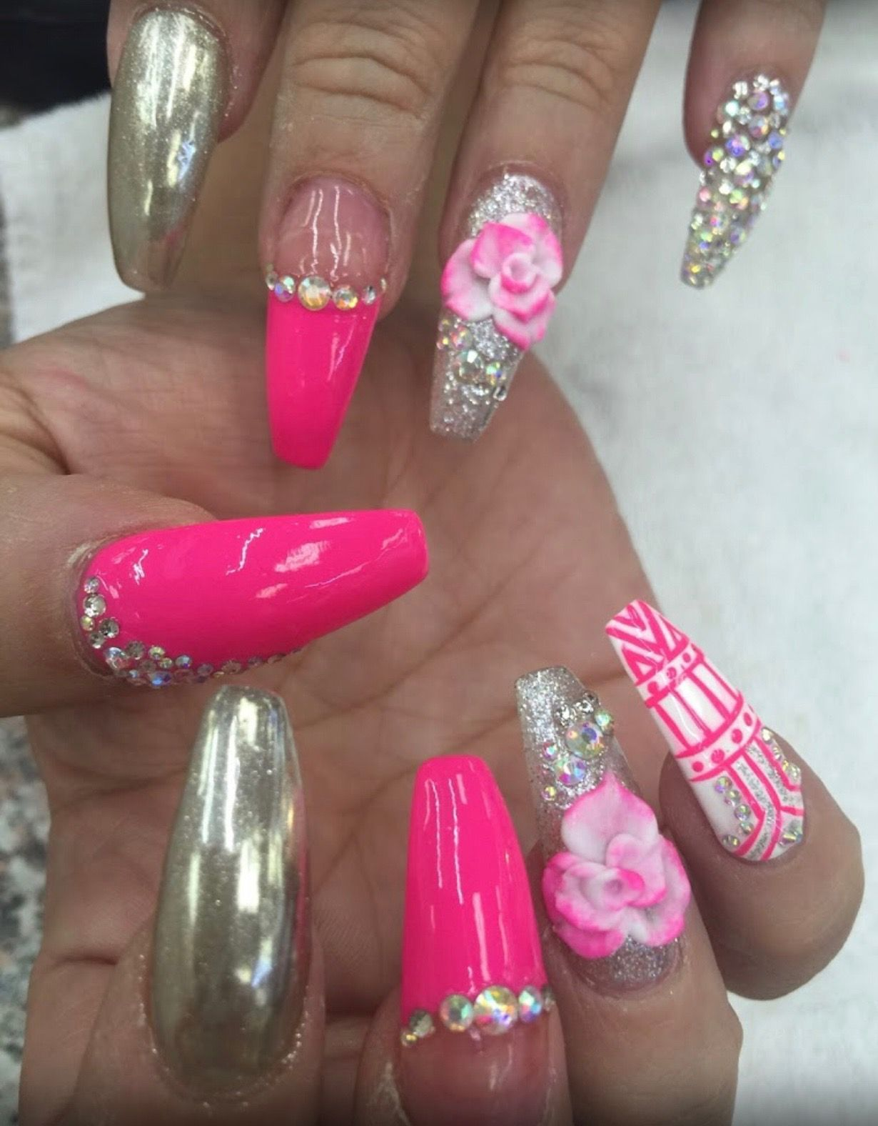 Hot Pink Acrylic Nails Designs Pink Acrylic Nails Pink Acrylic Nail Designs Airbrush Nails