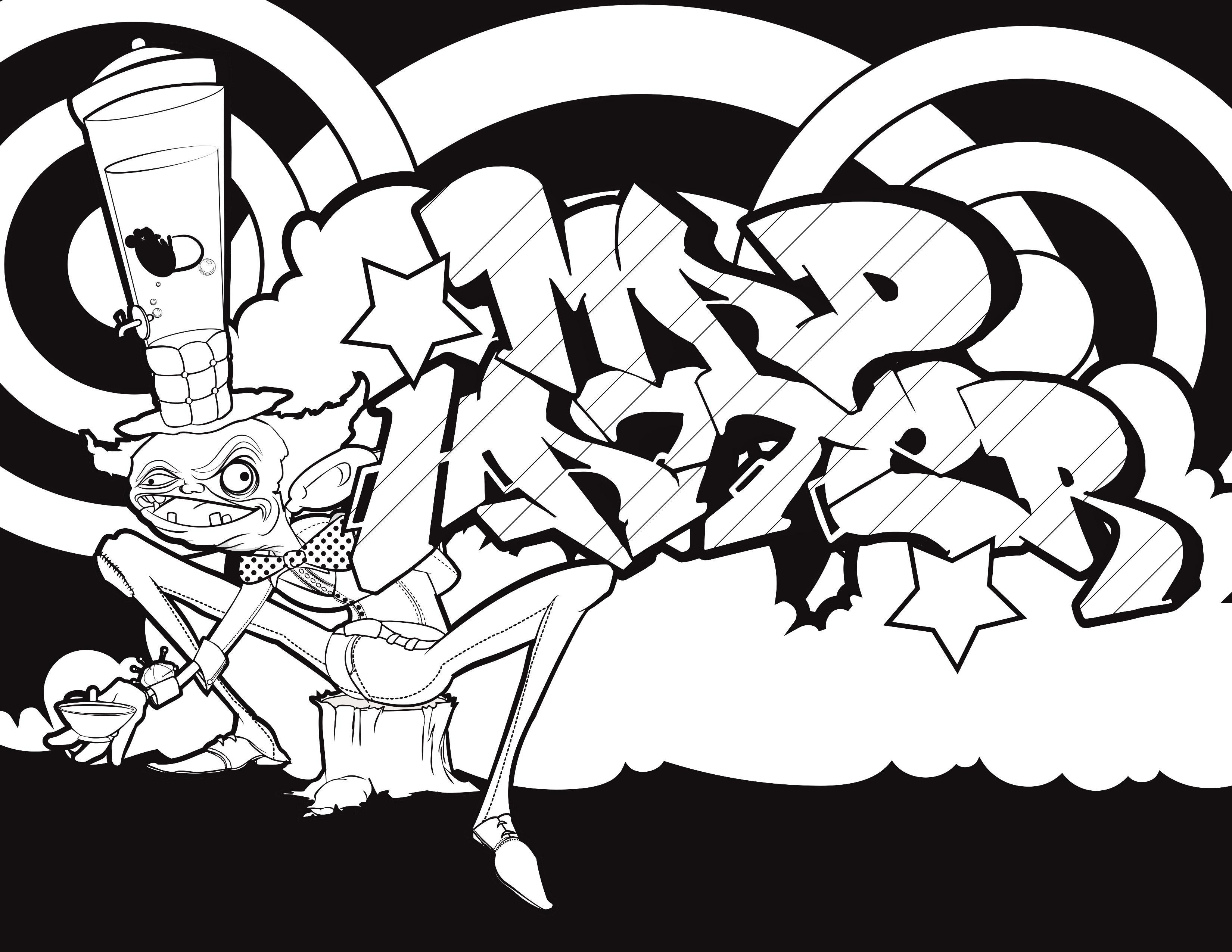 Pin On Graffiti Coloring Book Street Art Coloring Book Graffiti Letters And Graffiti Characters