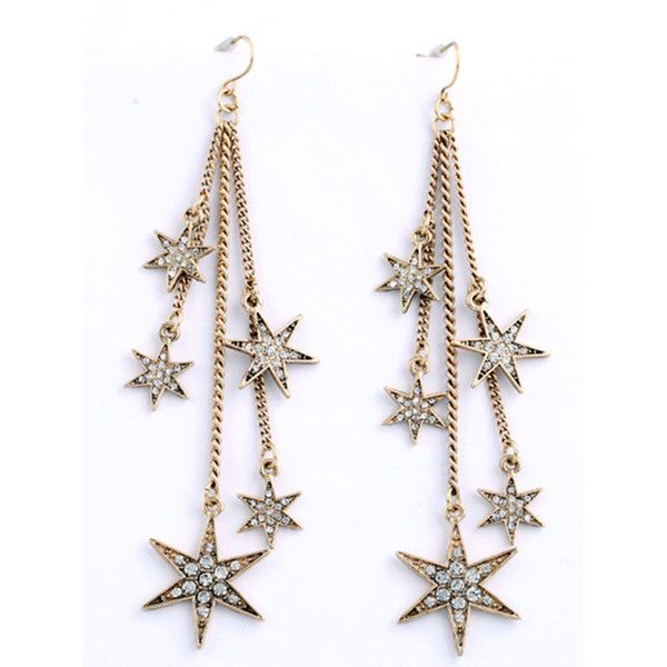 Fringe Star Rhinestone Drop Earrings (29.495 COP) ❤ liked on Polyvore featuring jewelry, earrings, star jewelry, star drop earrings, drop earrings, rhinestone earrings and fringe earrings