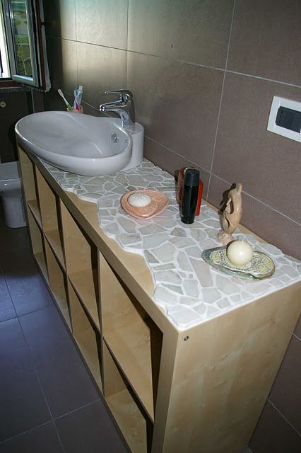 Expedit Sink Cabinet Ikea Hackers Sink Cabinet Ikea Tiled Countertop Bathroom