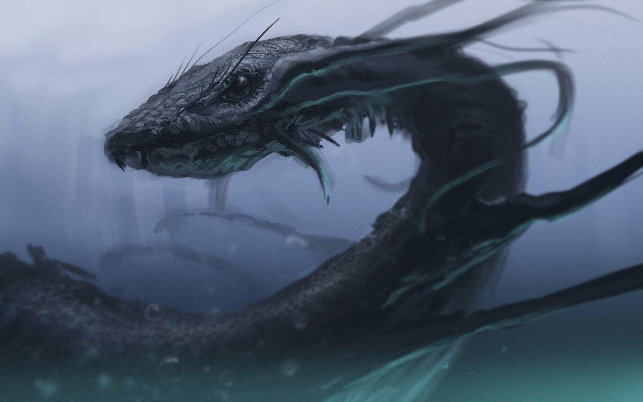 Sea Snake By Jamescombridge Sea Monsters Giant Snake Fantasy Creatures Art