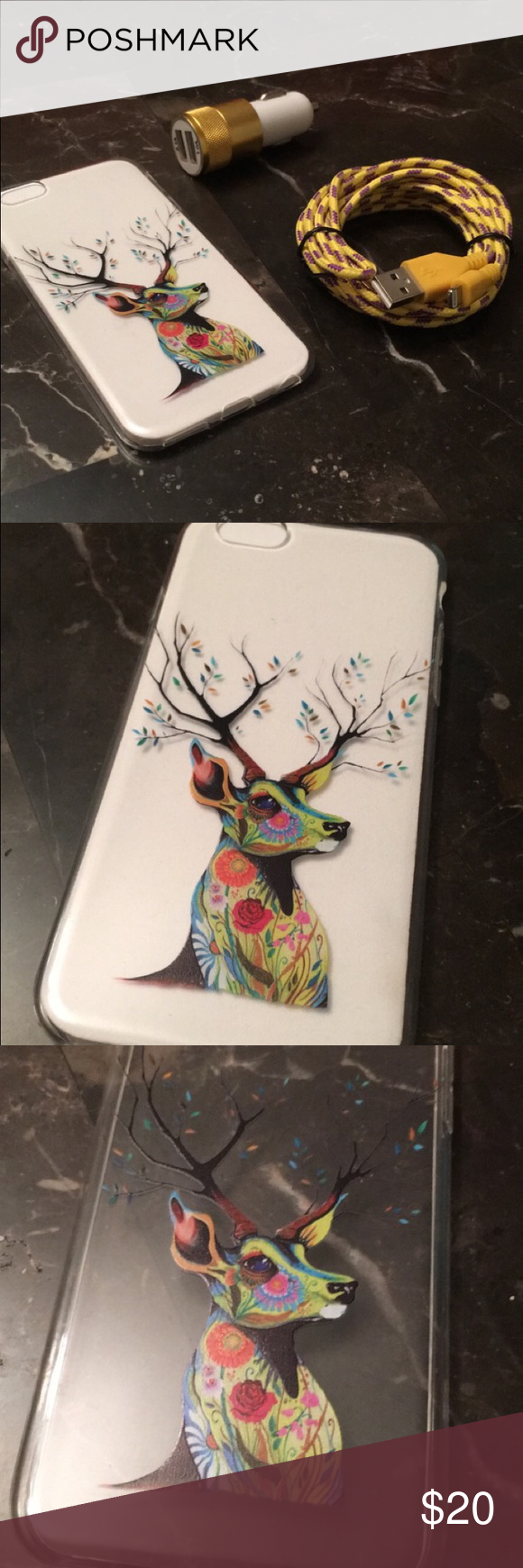 📱iPhone 6s 📱COMBO📱9ft Plug📱Car charger📱Case Here are some iPhone 6 or 6s accessories. The case is clear, bendable and has a multicolored deer on it. The car charger has 2 ports on it. It is White and Gold. The cable is super long at 9ft! It is purple and yellow. All items are brand new. All items are aftermarket, none are Apple Products. NoBrand Accessories Phone Cases