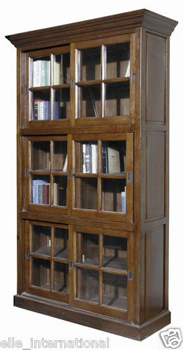 Barrister Oak Sliding Glass Doors Bookcase Cabinet Gorgeous New