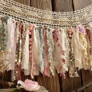 Custom Vintage Lace Burlap Valance,Lavander Mint &