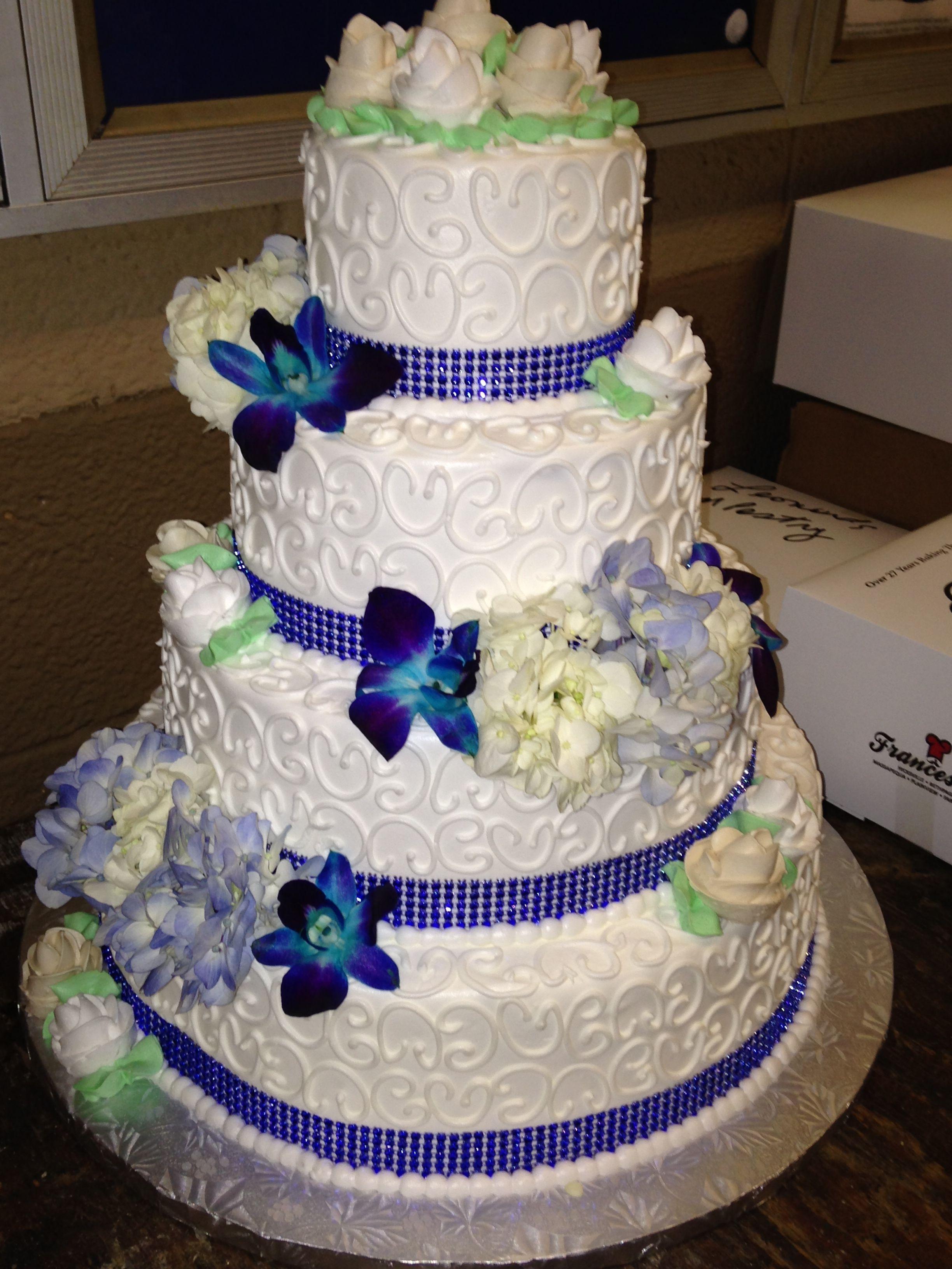 Wedding Cake with Blue Flowers & Rhinestones Wedding