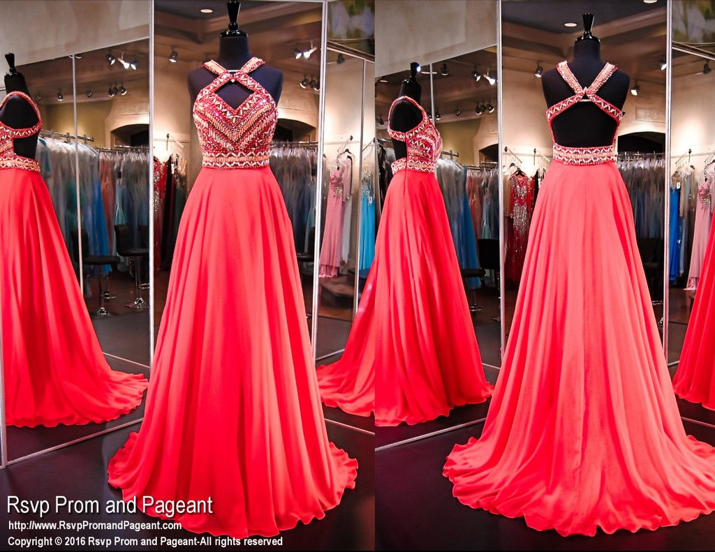 Coral Chiffon Prom Pageant Dress-Aztec Bodice-Open Back