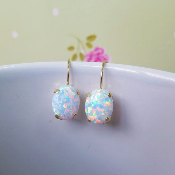 White Opal Earrings 14K SOLID YELLOW GOLD 6X8 mm Oval October Birthstone