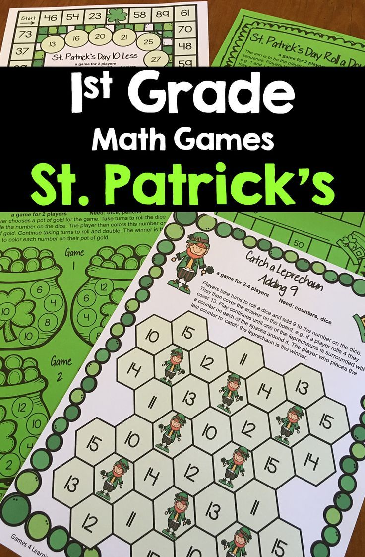 St. Patrick\'s Day Math Games for First Grade. Bring some green fun ...