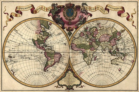 Double Hemisphere World map of 1742 by Lisle, Guillaume de Vintage - new antique world map images