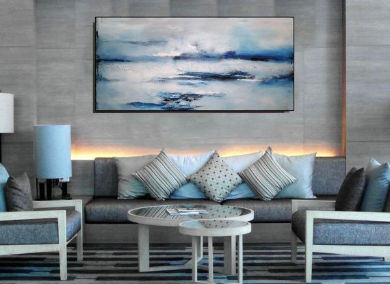 Large Wall Art Modern Blue Abstract Painting, Abstract Seascape - kunst fürs wohnzimmer