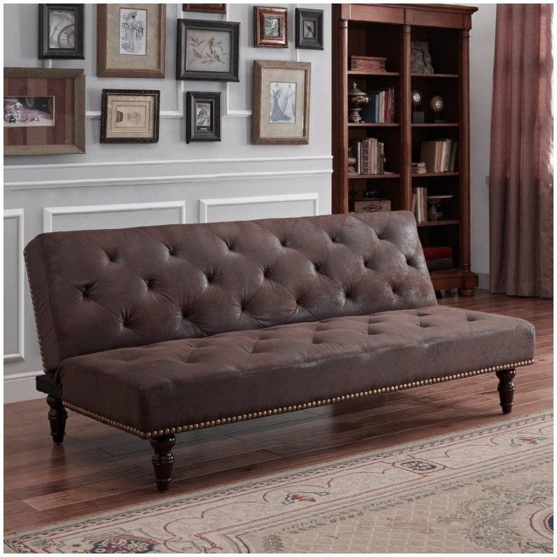 3 Seater Sofa Bed Brownbn Wood Couch Faux Leather Click Clack Antique Design